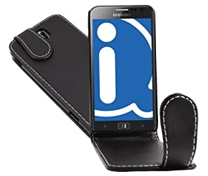 iTALKonline BLACK FlipMatic Easy Clip On Vertical Flip Pouch Case Cover with Holder for Samsung Ativ S I8750