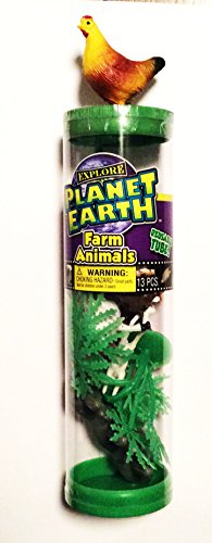 "PLANET EARTH Fun ""FARM ANIMALS"" Tube / Toys / Favors / Birthday / Learning / 13pcs ~ Miniature Plastic Animals TOYS / GIFTS"