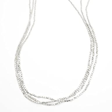 Silver Nugget Three Strand Necklace