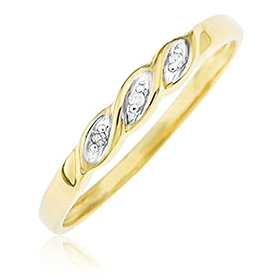 Ornami Glamour 9ct Yellow Gold Diamond Set Twist Ring