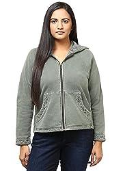 GRAIN Olive Color Regular fit Cotton Jackets for Women