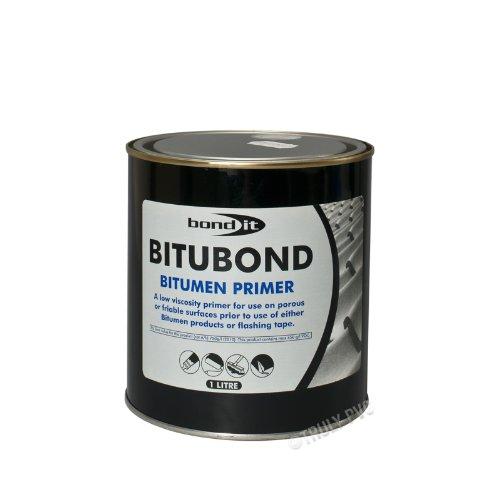Bond-It Bitubond BDB034 Bitumen Primer (1 Ltr) - Seals, Waterproofs and repairs leaking wood, concrete, asphalt or steel roofs.