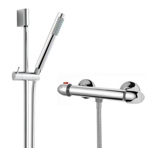Modern Chrome Thermostatic Bathroom Shower Bar Valve And Slide Riser Rail Kit