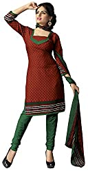 The Desi Attire Women's Crepe Unsticthed Dress Material (102_Maroon_38)