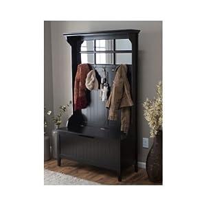 Black Entryway Hall Tree With Mirror Coat