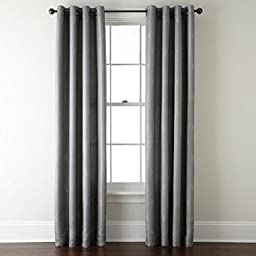 2 Panel Gray Silk Not See Through Opaque Blackout Grommet Window Curtain Drape by Curtains, Drapes & Valances