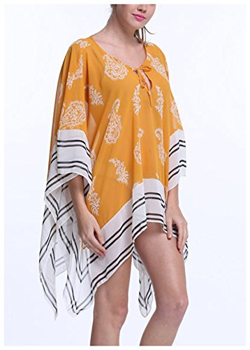 ee96e7e530a MG Collection® Yellow & White Lightweight Kimono Style Beach Swimwear Cover  Up