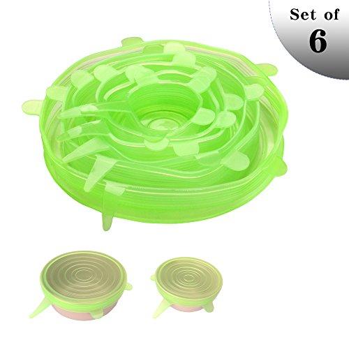 SMARCY Coperchi in Silicone Estensibili per Proteggere Gli Alimenti da Conservare, Set da 6 di Diverse Dimensioni, Colore Verde
