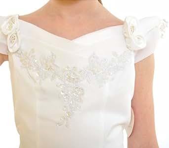 Festliches Mädchenkleid Festtagskleid Blumenmädchenkleid, Grösse Bekleidung:92/98;Farbe:Weiss