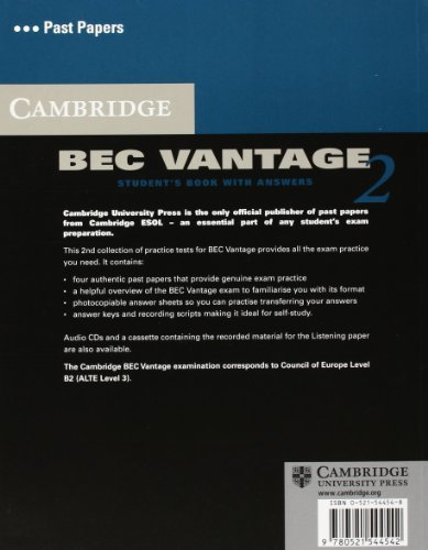 Cambridge BEC Vantage 2 Student's Book with Answers: Examination Papers from University of Cambridge ESOL Examinations (BEC Practice Tests)