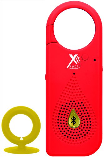 Bluetooth Wireless Speaker Clip For Smartphones, Cell Phones, Tablets, & Ipads | Comes With Usb Cable, Built-In Microphone, Rubber Coating, Suction Cup Loop And Stereo Cable (Red)
