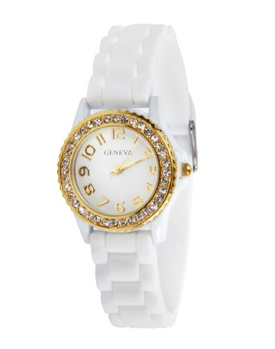 Geneva White Watch Silicone Ceramic Style Band with Smaller Face and Gold Trim and Sparkly Rhinestones Similar to Sandra Bullock's Watch in Blind Side
