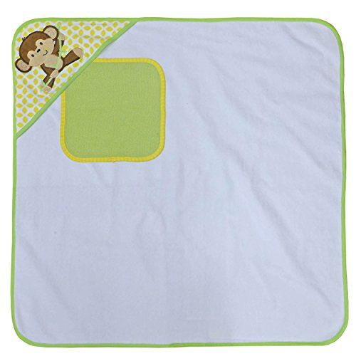 Neat Solutions Happy Monkey Single Applique/Print Woven Terry Hooded Towel and Washcloth Set, Green/Yellow