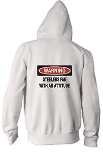 Warning: Steelers Fan with an attitude Youth Zippered Hooded (Hoody) Sweatshirt Fleece Jacket in Various Colors