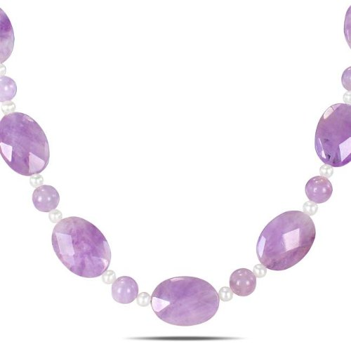 Freshwater Amethyst and White Pearl Fashion Necklace (5-5.5 mm)