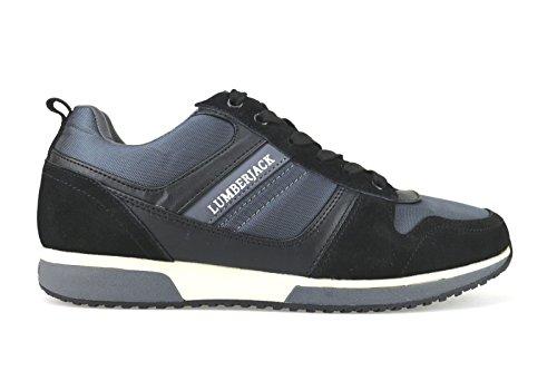 scarpe uomo LUMBERJACK 41 EU sneakers nero / grigio camoscio / tessuto AJ80-B