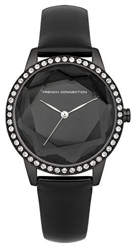 French Connection Mujer Reloj De Cuarzo Con negro Esfera Analógica Pantalla y Correa de cuero negro fc1215ba