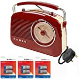 KNG Retro Radio Red 1950's Portable (Battery - batteries included) & Mains Electric Retro Style Rotary Radio (UK plug model) RED / Brown Wood Style with Ivory Cream White detailing