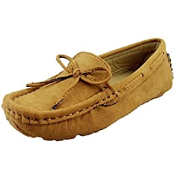 DADAWEN Girl\'s Boy\'s Suede Slip-on Loafers Oxford Shoes Brown US Size 6 M Toddler