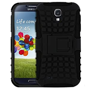 MiniSuit Rugged Rubberized Case + Kickstand for Samsung Galaxy S4 (High Impact, Black)