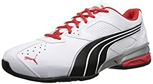 PUMA Men's Tazon 5 Wide Training Shoe,White/Black/High Risk Red,9 W US
