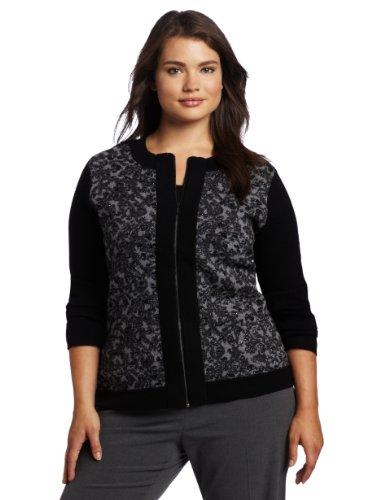 Pendleton Women's Plus-Size Leopard Zip Cardigan Sweater