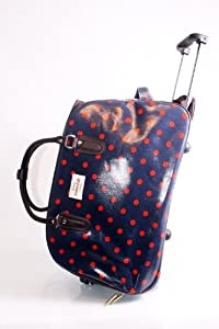 Chic Blue And Red Spots Contrast Wheeled Trolley Bag Cabin Approved Luggage