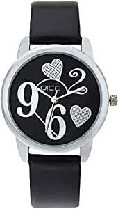 """DICE """"Grace 8832"""" Fashionable, Elegant, Contemporary, Tasteful and attractive Watch for women. Black Dial, Silver case and Anti allergic Leather Strap."""