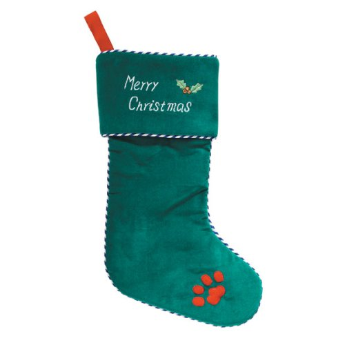 Zanies Vlvt Merry Christmas Stocking 15 In Green