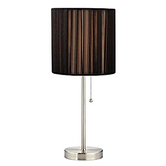 pull chain table lamp with black string drum shade. Black Bedroom Furniture Sets. Home Design Ideas