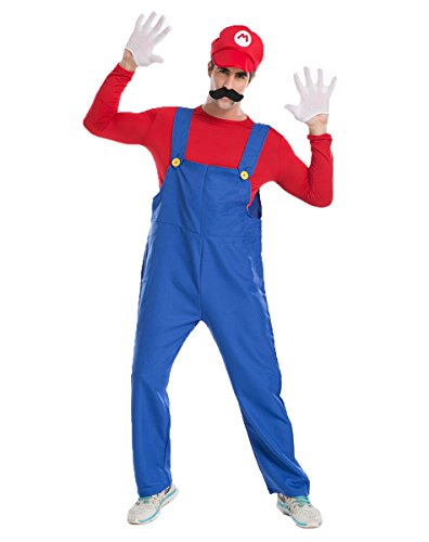 Moonie Super Mario Bros Adult Mens Mario and Luigi Costume Kit (XL, Red-Mario) (Super Mario Costume For Men)