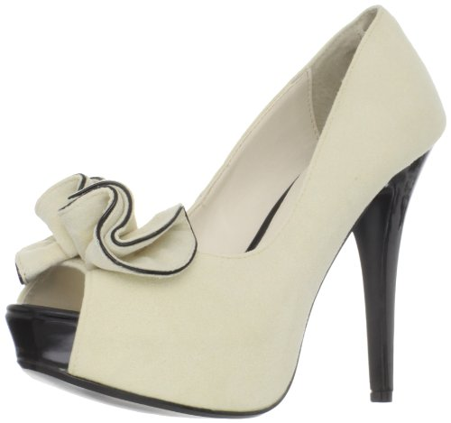 Pleaser Beige Suede High Heel Peep Toe Shoes with ruffle detail – Ladies/Womens, UK 7