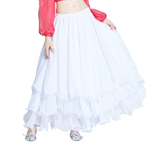 Dance Fairy 2016 Tribal White Party Chiffon Belly Dance Tiered Midi Three Layers Maxi Long Skirt