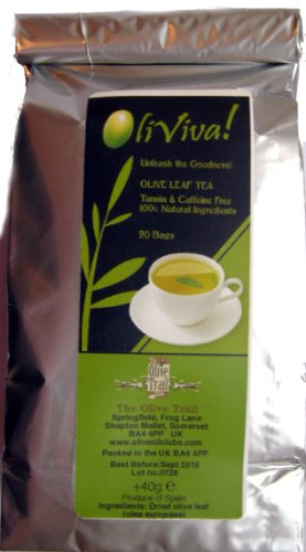Olive Leaf Tea Bags - 20 Sachets - Caffeine & Tannin Free