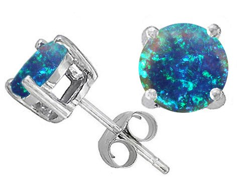 Original Star K Round Created Blue Opal Earring Studs