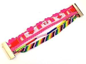 BR.817 - Bracelet Femme - Manchette Brésilien Rose Fluo - Fermoir Aimanté Magnétique