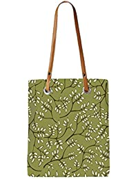 Snoogg White Leaves Pattern Green Womens Digitally Printed Utility Tote Bag Handbag Made Of Poly Canvas With Leather...