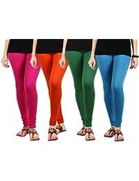 Jbk Arts Women Cotton Lycra Premium Leggings ( Set Of 4 ) ( L4-DP-O-G-SB, Multi-Coloured, )