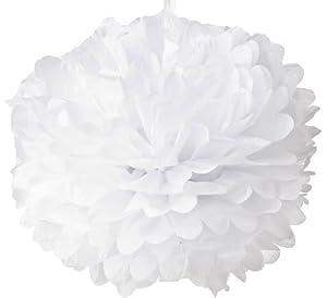 """WeGlow International 12"""" Paper Pom Poms, White, 4 Piece Set"""