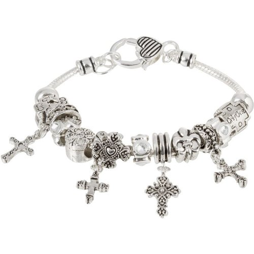 Heirloom Finds Cross Theme European Bead Religious Bracelet with Dangling Charms