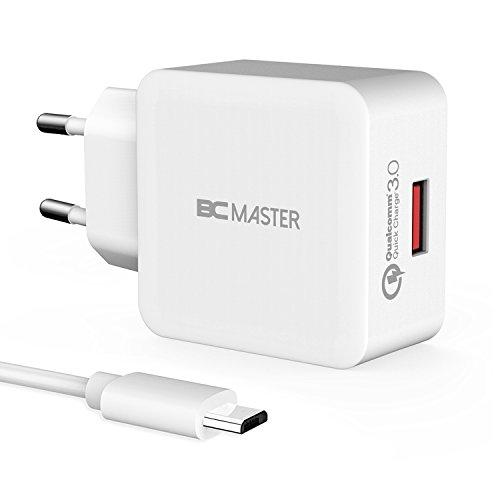 Schnellladegerät, BC Master USB Ladegerät 19,5W Quick Charge 3,0 USB Netzteil (QC 2,0Kompatibel) Reiseladegerät Ladeadapter Handy für Samsung Galaxy, iPhone iPad, HTC ,Nexus, LG, Lumia und Mehr-Weiß (mit USB-Kabel)