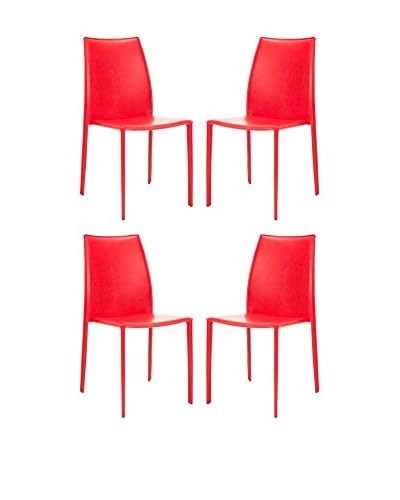 Safavieh Set of 4 Aidan Vinyl Side Chairs, Red