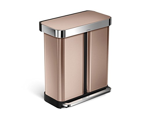 simplehuman 58 Litre / 15.3 Gal Rectangular Dual Compartment Recycling Step Can with Liner Pocket, Rose Gold Stainless Steel (Modern Garbage Can compare prices)