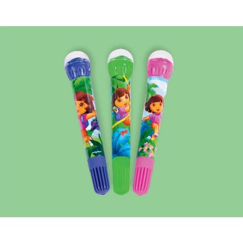 "Amscan Colorful Dora The Explorer Birthday Party Roller Stamper Marker (3 Piece), Pink/Blue/Green, 4 1/4"" - 1"