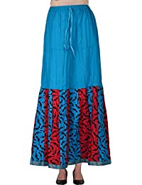 Fashiana Women's Cotton Skirt (Turquoise)
