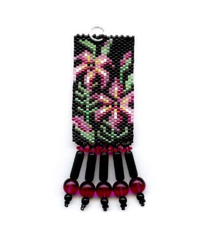 Asiatic Lily Flower Delica Beaded Pendant in Peyote