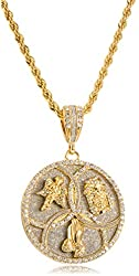 Iced Out Angel & Jesus Face Trinity Pendant with a 28 Inch Rope Chain Necklace