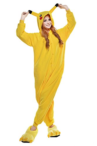 [Halloween Costumes Pokemon Onesie Adults Sleeping Wear Kigurumi Pajamas Cosplay Costume (M,] (Pikachu Costumes Women)