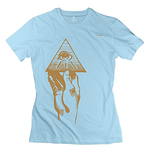 ZZY Geek Holding Seeing Eye T-shirt - Women's Tee SkyBlue