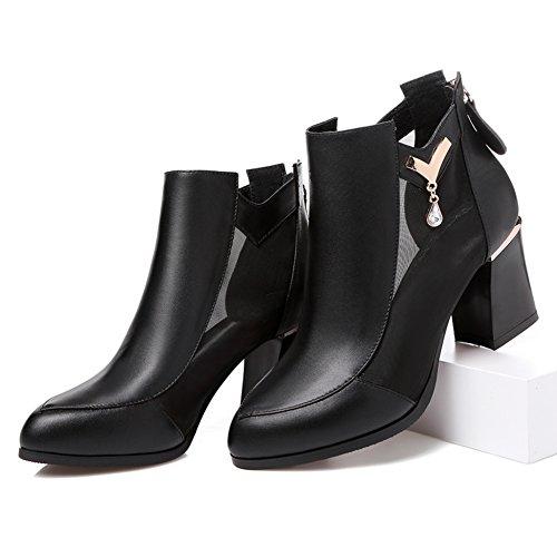 scarpe da donna in autunno/ rete europea di cava stivali/In pelle chunky tacchi tacchi alti scarpe ragazze/Gladiatore scarpe-A Lunghezza piede=23.3CM(9.2Inch)